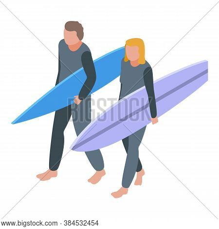 Family Holiday Surfing Icon. Isometric Of Family Holiday Surfing Vector Icon For Web Design Isolated