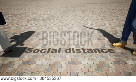 Concept or conceptual 3d illustration of shopping under social distance guidelines on a pavement background as a means of preventing the spread of the coronavirus. A metaphor for the new normal