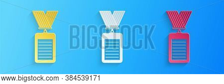 Paper Cut Identification Badge Icon Isolated On Blue Background. Identification Card. It Can Be Used