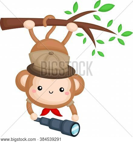 A Cute Monkey Wearing A Safari Ranger Costume While Hanging On A Branch