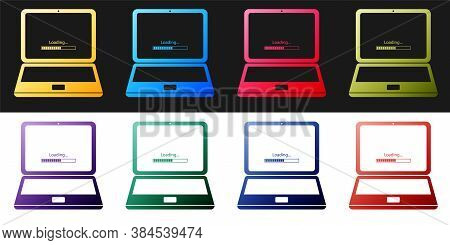 Set Laptop Update Process With Loading Bar Icon Isolated On Black And White Background. System Softw