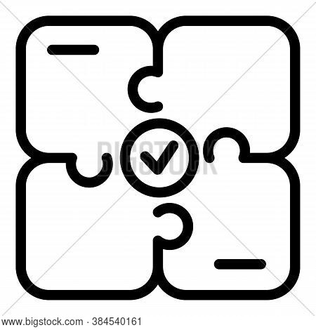 Approved Iso Jigsaw Icon. Outline Approved Iso Jigsaw Vector Icon For Web Design Isolated On White B