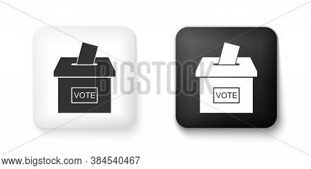 Black And White Vote Box Or Ballot Box With Envelope Icon Isolated On White Background. Square Butto