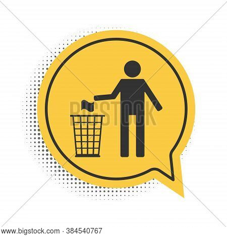 Black Man Throwing Trash Into Dust Bin Icon Isolated On White Background. Recycle Symbol. Yellow Spe