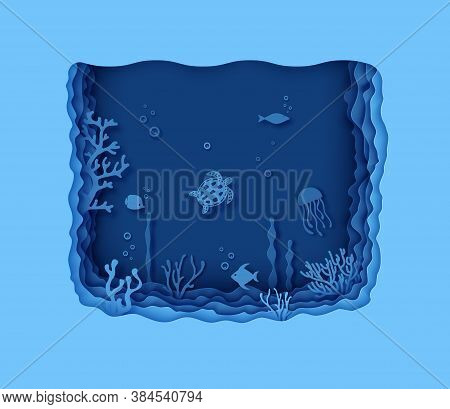Paper Cut Butterfly Fish, Seahorse, Moonfish, Turtle, Crab, Octopus. Paper Craft Layered Background
