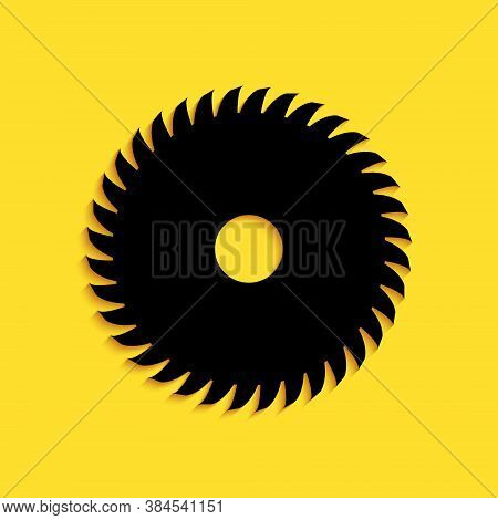 Black Circular Saw Blade Icon Isolated On Yellow Background. Saw Wheel. Long Shadow Style. Vector