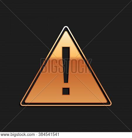 Gold Exclamation Mark In Triangle Icon Isolated On Black Background. Hazard Warning, Careful, Attent