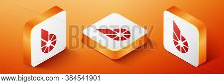 Isometric Cryptocurrency Coin Bitshares Bts Icon Isolated On Orange Background. Physical Bit Coin. D