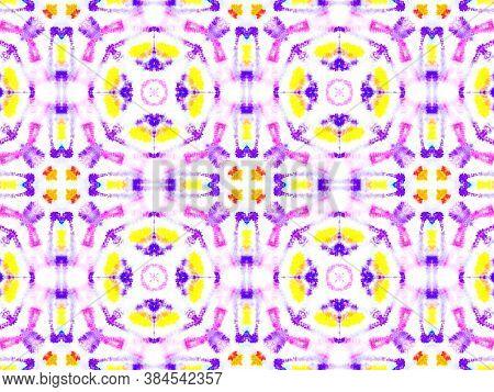 Watercolor Tie Dye Seamless Pattern. Artistic Handdrawn Swimwear Design. Colorful Summer Background.