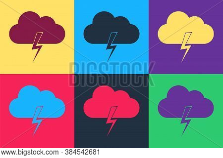 Pop Art Storm Icon Isolated On Color Background. Cloud And Lightning Sign. Weather Icon Of Storm. Ve