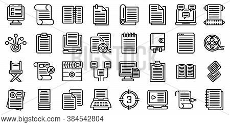 Scenario Icons Set. Outline Set Of Scenario Vector Icons For Web Design Isolated On White Background