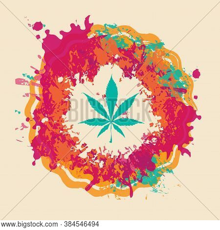 Banner On The Theme Of Legal Or Illegal Marijuana. Vector Illustration With Hemp Leaf On Abstract Ba