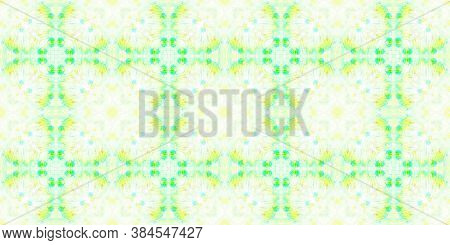 Water Color Textile Texture. Ethnic Geometric Ornamental Background. Yellow, Green And White. Abstra