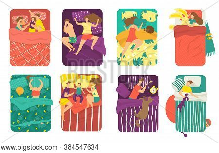 People Sleep In Bed In Different Poses Set Of Vector Illustrations. Sleeping In Bed With Kids, Cats