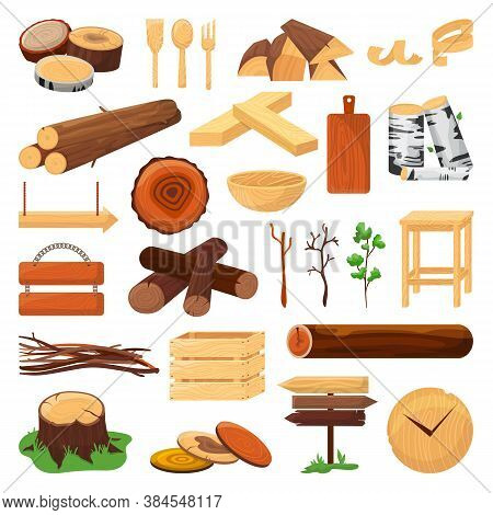 Wood Logs, Trunks And Planks Set Of Vector Ilustration. Wood Timber Materials, Wooden Cuts, Planks,