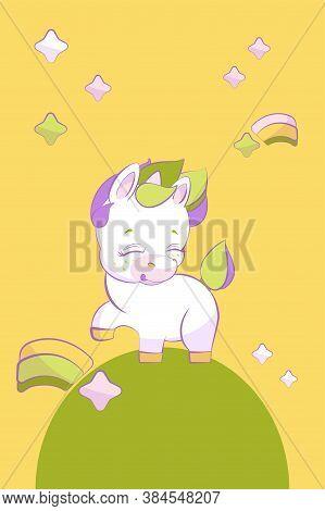 Cute Little Unicorn Pounding A Hoof In Stars