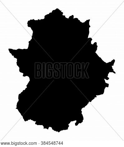 The Extremadura Region Dark Silhouette Map Isolated On White Background, Spain