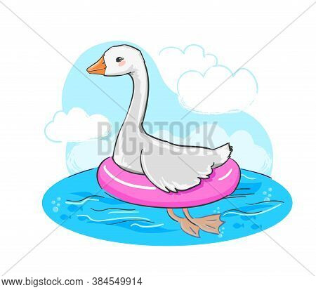 Hand Drawn Cute Goose And Swim Ring Vector Illustration