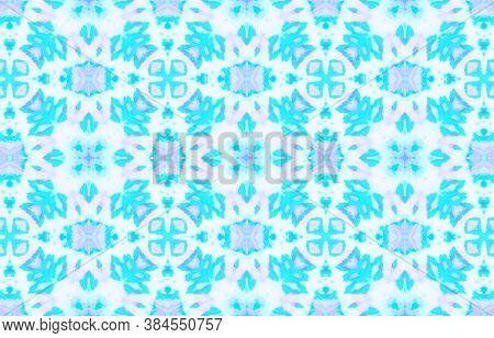 Seamless Aquarelle Pattern. Ethnic Geometric Material Design. Blue And White Colors. Aquarelle Tie D