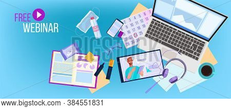 Free Online Webinar Or Training Vector Illustration With Young Tutor, Home Office Flat Lay, Laptop,