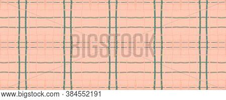Pink Rustic Plaid. Watercolour Picnic Pattern. Hipster Checkered Kilt. Seamless Rustic Plaid. Englis