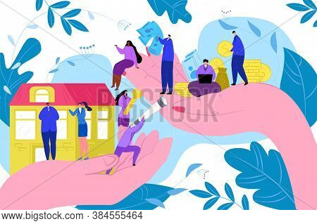 House Sale, Hands Holding Keys For Luxury House, Real Estate Property Vector Illustration. Successfu