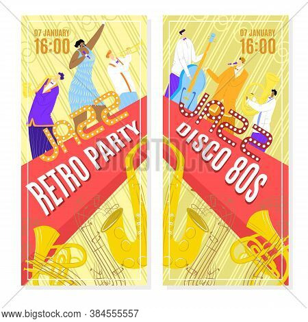 Jazz Music Concert, Posters Or Flyers Set Template, Vector Illustration Design. Art Musical Event, R