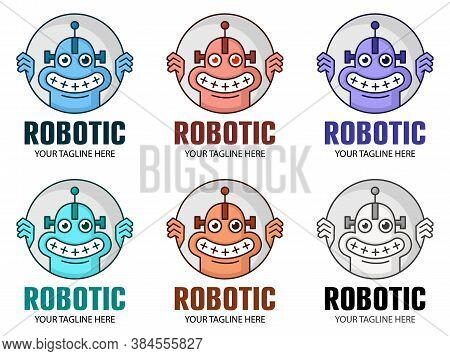 Funny Cartoon Smiling Robot Logo In Six Color Modes. Cute Robot Character. Chatbot Icon. Modern Bot