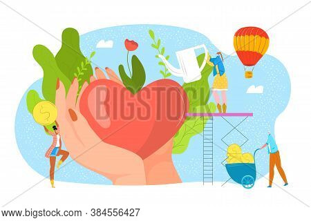 Donate Blood, Charity, Philantrophy Concept For Donor Day, Help And Save Life Vector Illustration. H