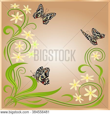 Postcard With Butterflies And Flowers.beautiful Butterflies And Flowers In A Multicolored Postcard.