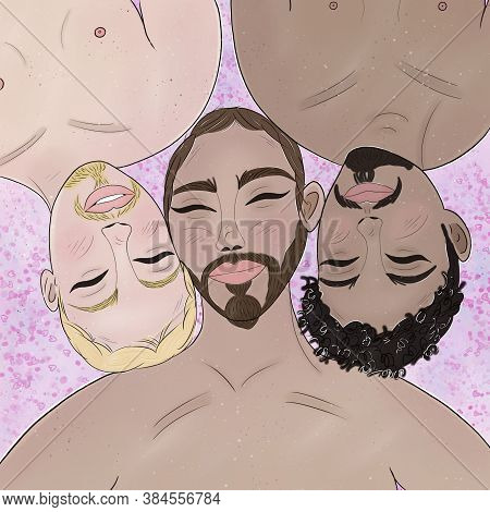 Hand Draw Illustration Of A Gay Polyamory  Throuple Naked On Bed. Homosexual And Multi Ethnic Concep