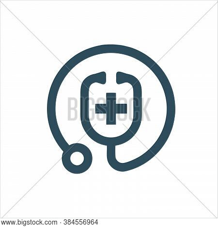 Stethoscope Icon Isolated On White Background From Nursing Collection. Stethoscope Icon Trendy And M