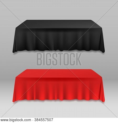 Realistic Detailed 3d Color Blank Table With Tablecloth Template Mockup For Banquet Or Celebration I