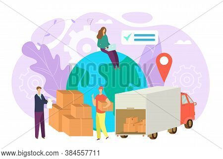 Worldwide Shipping And Delivery Cargo Service Concept, Vector Illustration. Transportation Worldwide