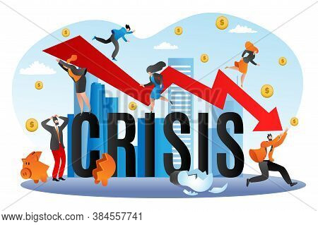 World Financial Crisis, Economic Fall Vector Illustration. Going Down Graph Of Finance, Business Ban