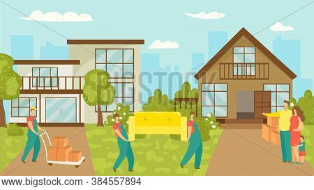 House Moving Family, New Home And Workers Carrying Furniture, Cardboard Boxes Vector Illustration. H