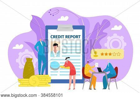 Loan Application Concept, Credit In Bank Vector Illustration. Form Or Financial Document In Bank Off