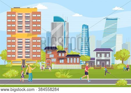 Modern Buildings Cityscape, People On Streets, Business Center Vector Illustration.constructions, Sk