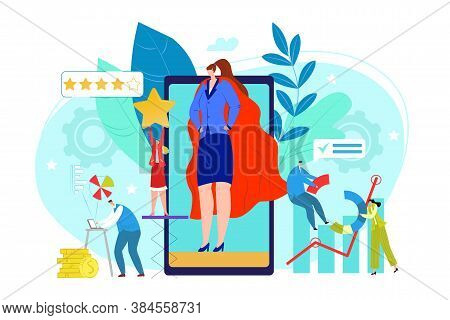 Pr Company Concept, Public Relations Business Corporate Management Vector Illustration. Idea Of Maki