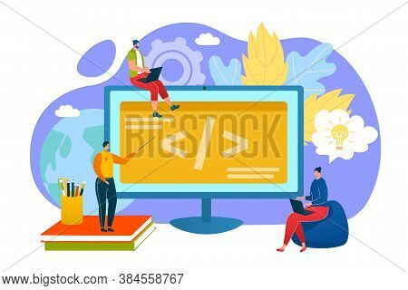 Programming Education Concept, Programmers Learn Coding On Computer Vector Illustration. People Reat