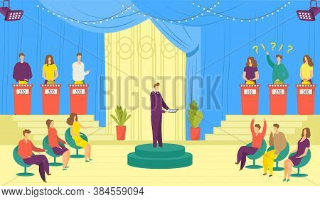 Television Show, Tv Game Vector Illustration. Tv Program Of Entertainment With Participants Answerin