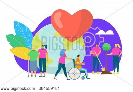 Volunteers Group Concept, Vector Illustration. Volunteering, Charity, People And Ecology. Group Of V