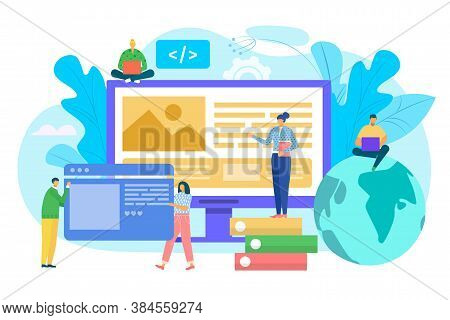 Website Construction Concept, Ui Interface Prototyping, Web Development Vector Illustration. People