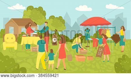 Garage Sale Of Junk Stuff In Yard Vector Illustration. People Buy And Sell Housewares, Clothing, Spo