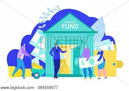 Pension Fund Concept, Retirement Financial Investment In Bank And Plan Insurance Social Security, Is