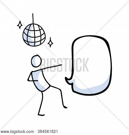 Hand Drawn Stickman 60s Disco Dancer With Ball Concept. Simple Outline Ballerina Figure Doodle Icon