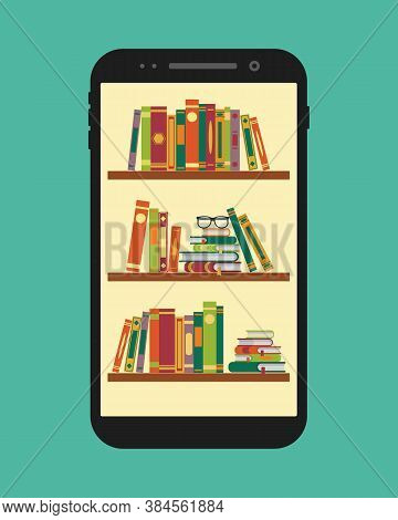 Online Library In Mobile. Vector Ebooks Stand On Bookshelf In Application Of Phone. Electronic Readi