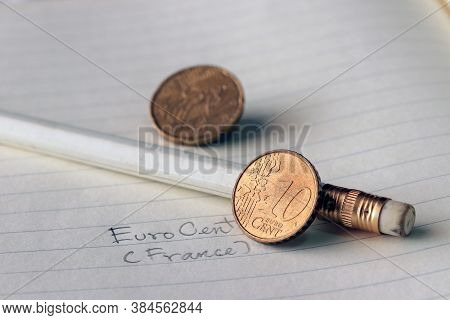 Ten France Euro Cent On Reverse, A Map, Next To The Facial Value, Symbolizes The Gathering Of The Na
