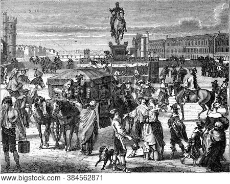 Pont Neuf under Louis XIII, Vintage engraving. From Popular France, 1869.