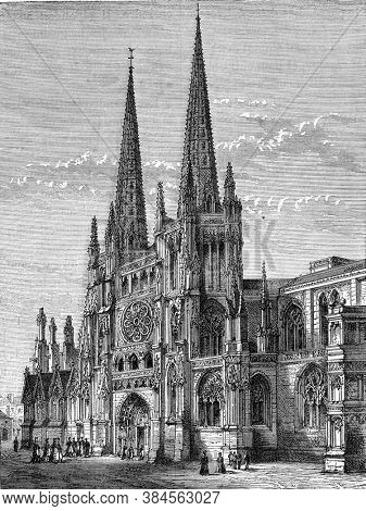 Saint-Andre Cathedral in Bordeaux, Vintage engraving. From Popular France, 1869.